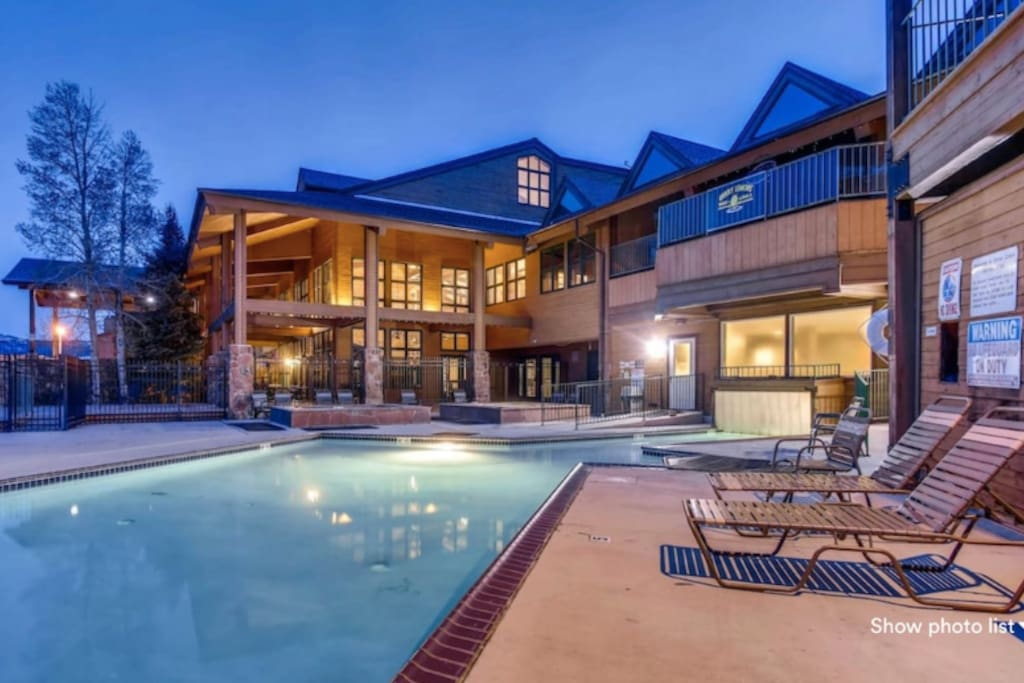 Enjoy the year round indoor/outdoor pool and four hot tubs