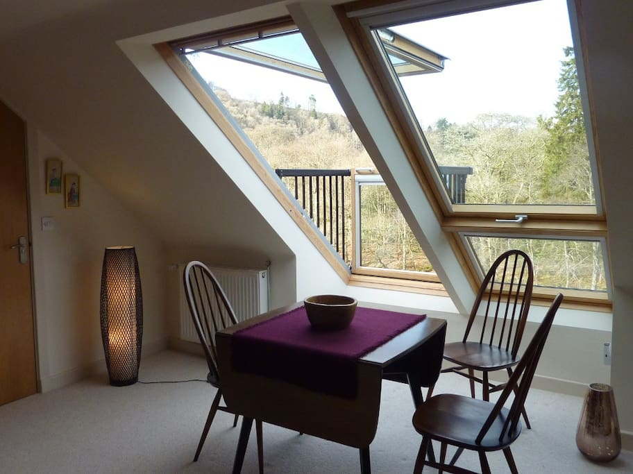 Dining table seating up to 4 with stunning views across the river