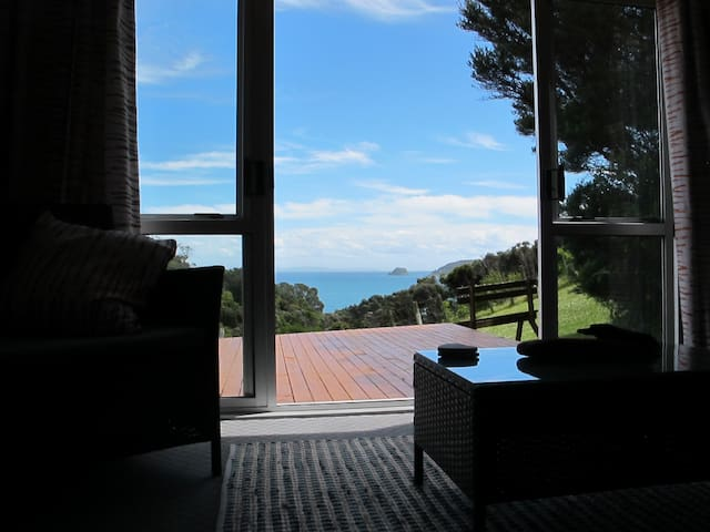 Whero - open plan living, deck with superb views - Amodeo Bay - Stuga
