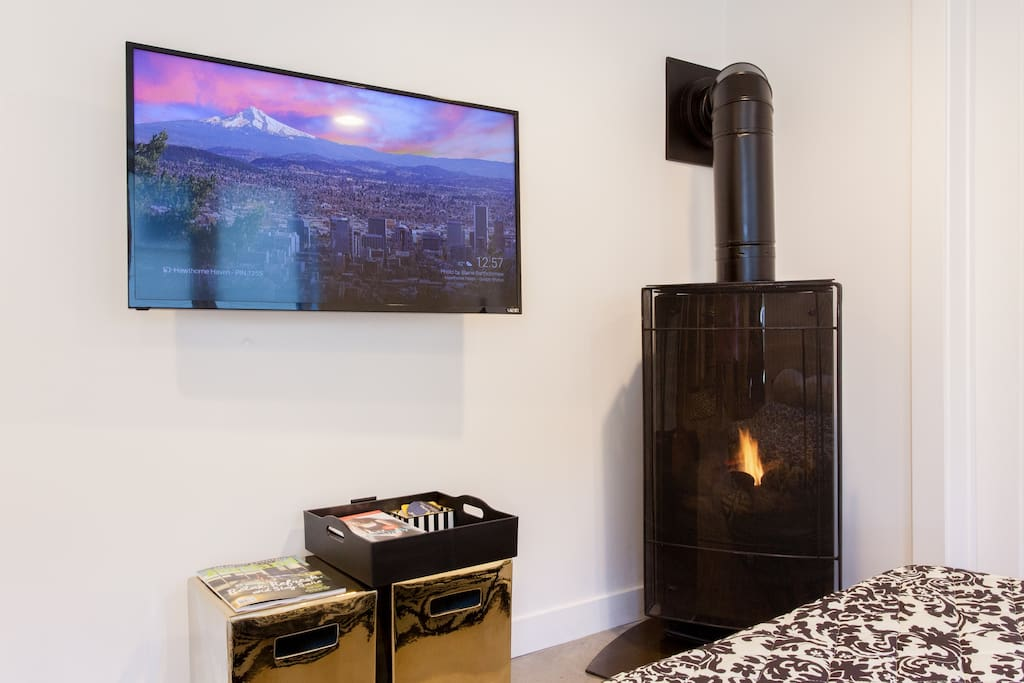 Enjoy the on-demand fire and play panel TV...