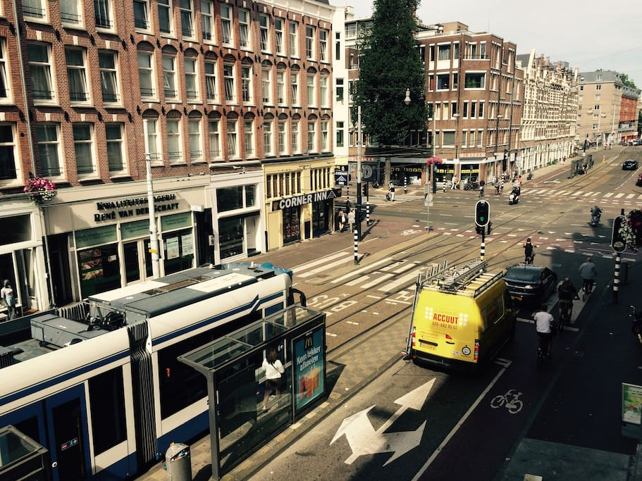 The tram stops right in front of my apartment. Travel with tram 13 or 17 in 5-10 minutes to the city centre.