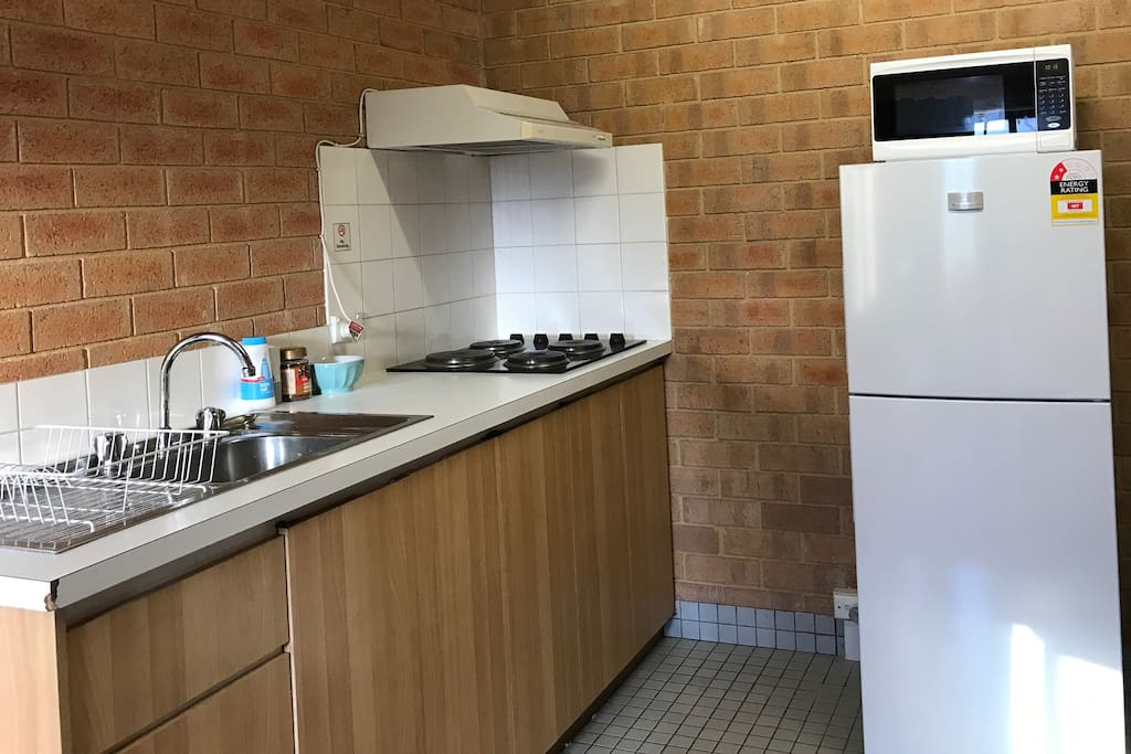 Self contained kitchenette with all basic requirements to prepare your own meals