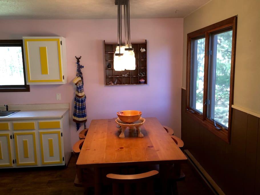Kitchen table seats 6.