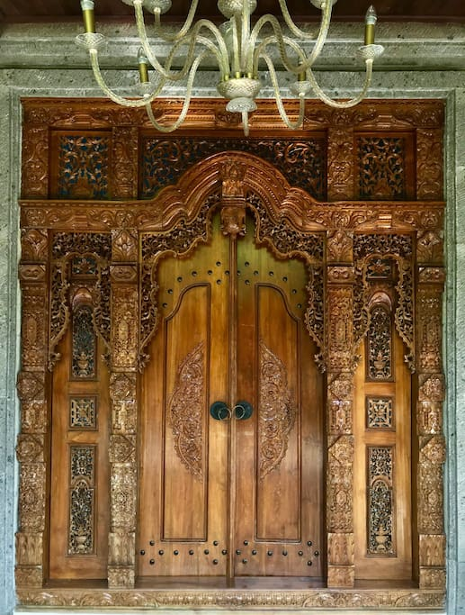 Beautiful intricately carved wooden doorway.