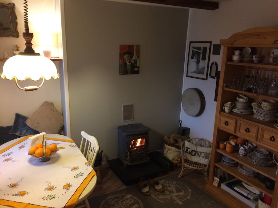Breakfast/ Dining room with Log fire