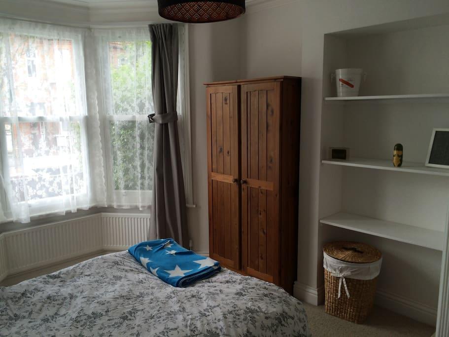 2. Wardrobe, clothes basket, shelves