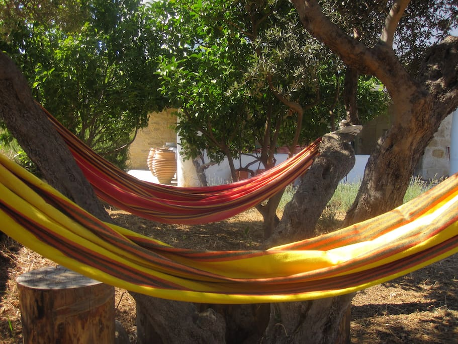 Relax the afternoon away under the olive trees