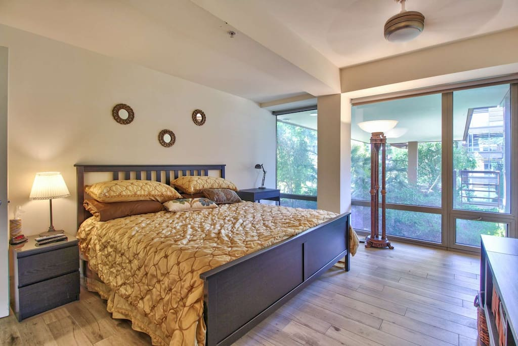 Spacious Master Bedroom with King size bed, tv and private bathroom