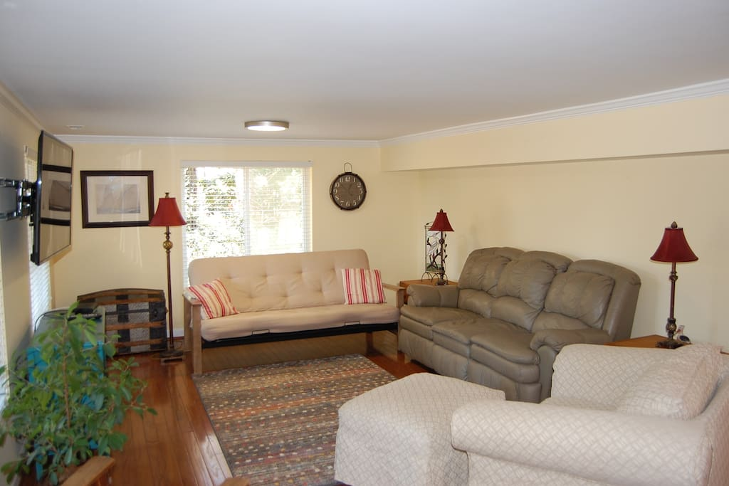 "Spacious family room with a 55"" wall mount television, HBO, Netflix and queen futon bed"