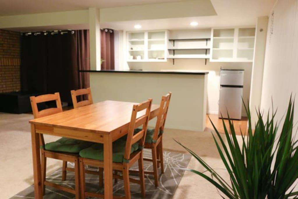 Dining space. Mini refrigerator.