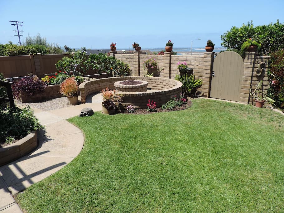 Large yard with firepit
