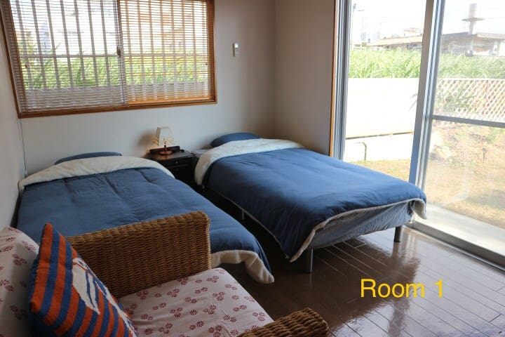 Panorama Room#1. 個室2名様まで。サトウキビ畑の先には絶景のパノラマオーシャンビュー
