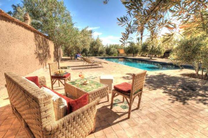 Chambre privé, piscine et jardin dans la palmerie