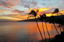 A typical evening in Maui with picture perfect sunsets from our lanai.