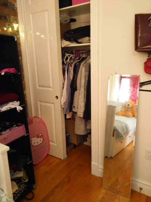 spacious shelfs and closet.