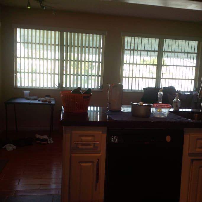 window through kitchen
