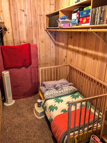 Baby or toddler room, adjacent to master bedroom. Room for available pack n play to be added if destined.