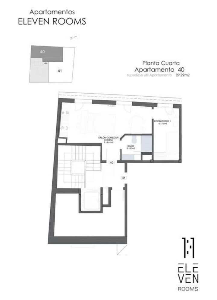 Aptos Eleven Rooms-Apto Abuhard. 1 habitacion 40