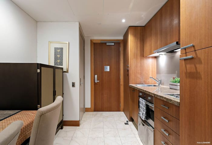 Dining area up to 2 people and  a fully equipped kitchen