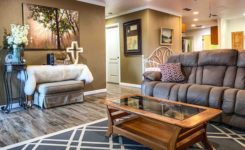 Our comfortable living area will help you unwind and relax after a long day.