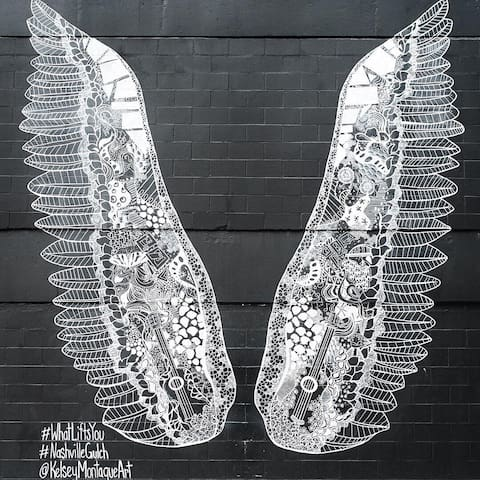 10 minutes from the iconic #whatliftsyou angel wings mural in The Gulch!