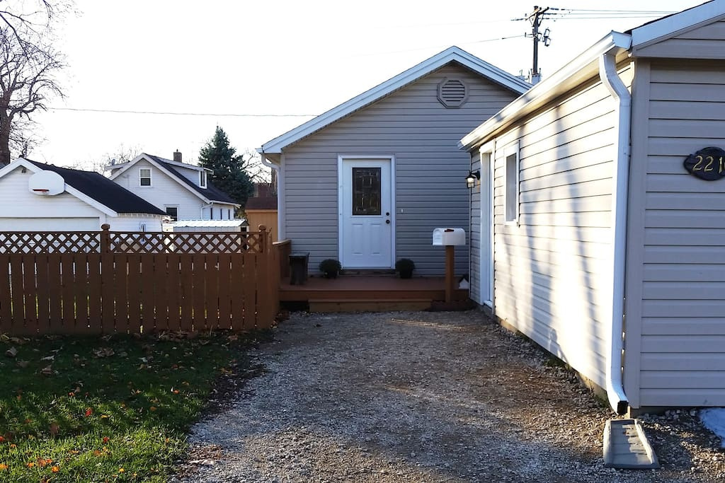 Front of House (garage on right) Gravel driveway with off street parking