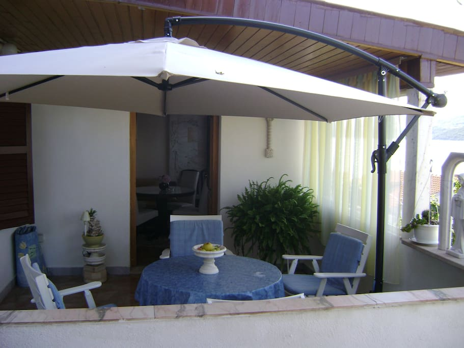 entrance to the apartment with a terrace