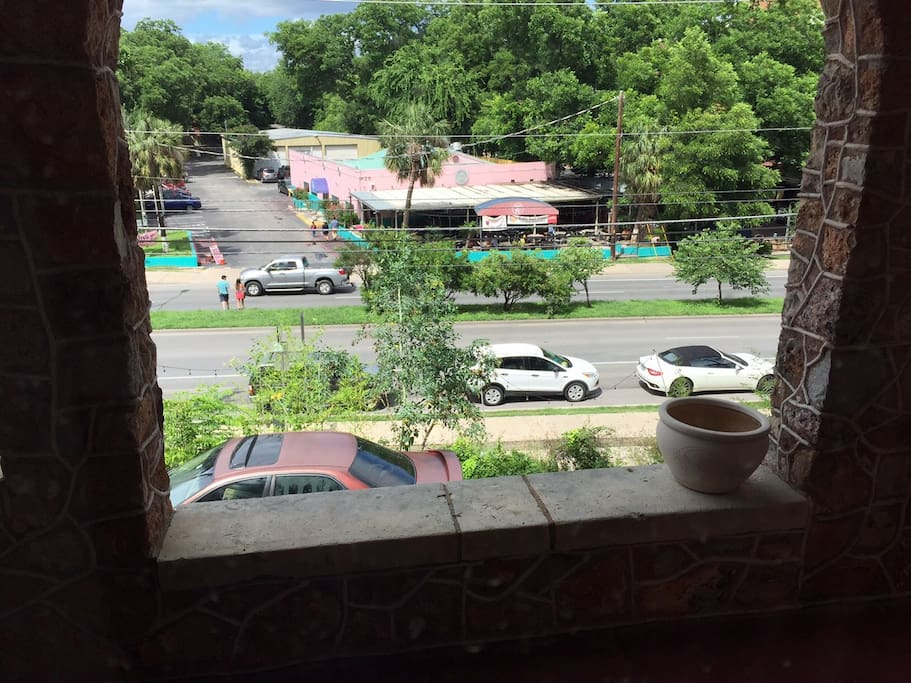 Here is the view from your room overlooking Barton Springs Road - we are the only house on the entire street!