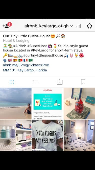 For more photos, videos, and deals, follow and tag us on Instagram: @airbnb_keylargo_OTLGH. Use hashtags #OurTinyLittleGuestHouse #EnjoyTheTinyLittleThings #AirbnbKeyLargo.