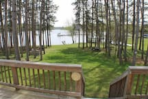 Unique combination of sloping lawn/sandy beach AND deep water for boating. No road to cross!