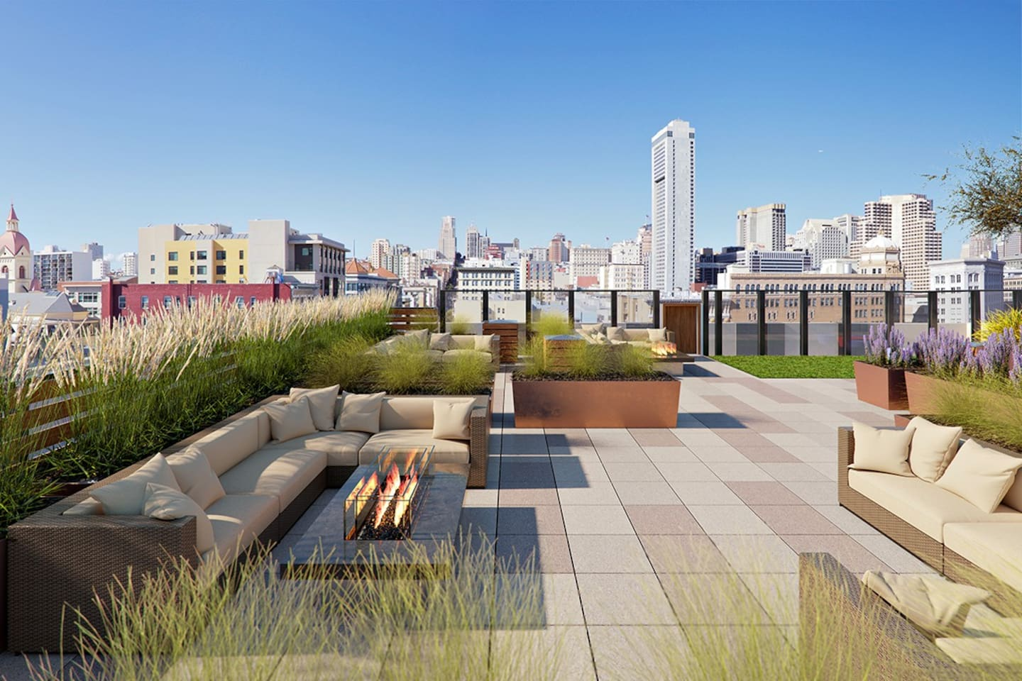 Rooftop lounge with downtown and Russian/Nob hill views.