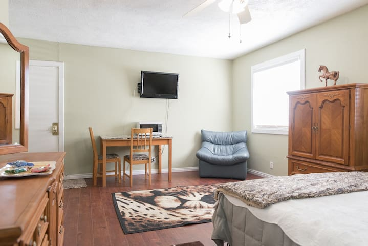 Microwave, Keurig coffee and tea maker, a few snacks and a little frig to help you unwind while you watch Netflix on your own TV.  There is room for a twin bed for a friend.  (Maximum guests are 3)