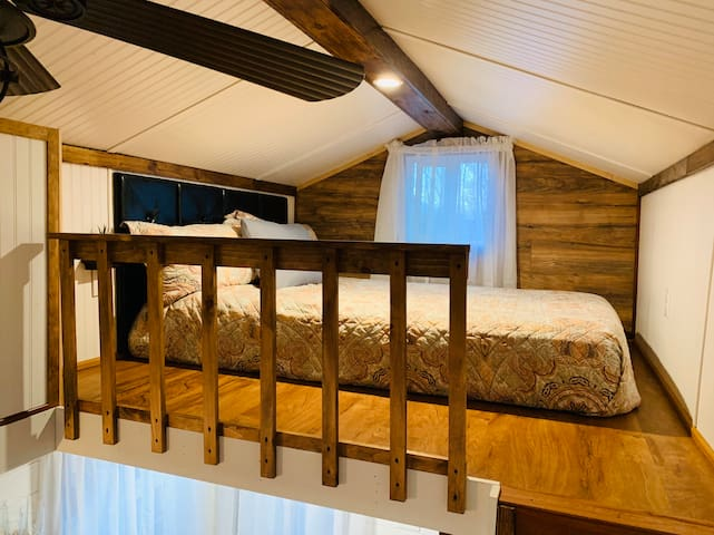 Sleeping loft with a Queen sized bed