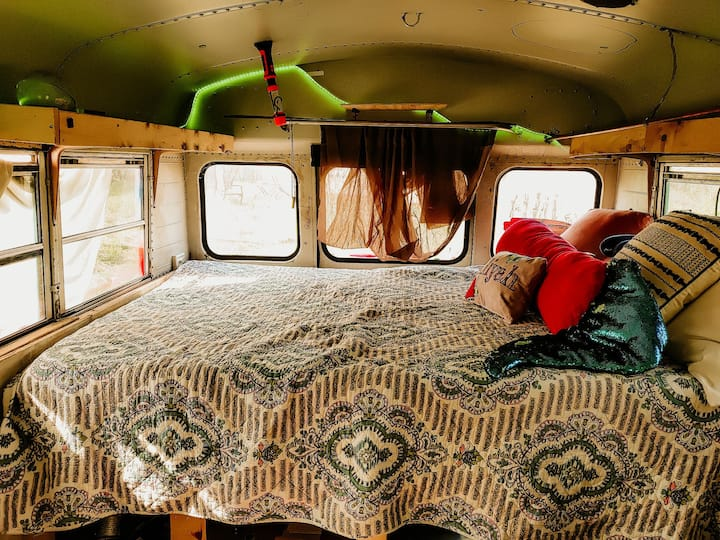 Love Bus on 200acre  Adventure treehouse farm