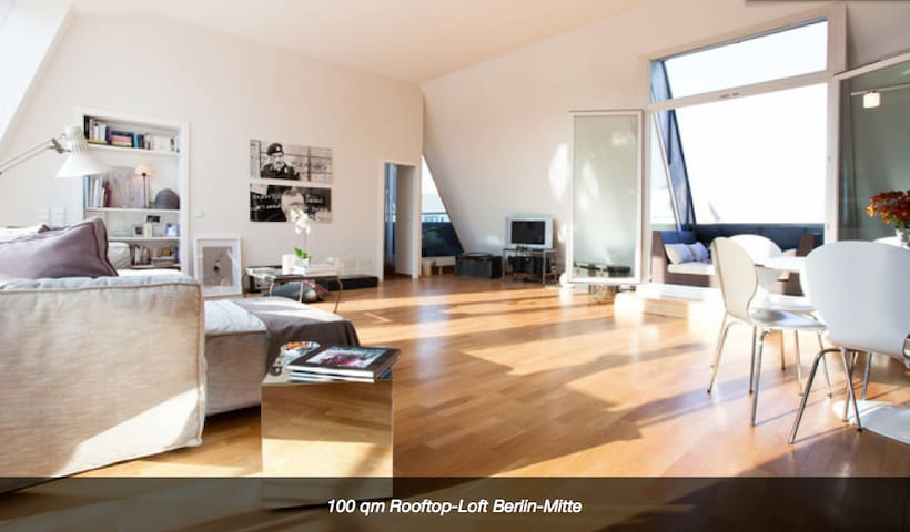 100 qm penthouse loft berlin mitte lofts louer berlin berlin allemagne. Black Bedroom Furniture Sets. Home Design Ideas