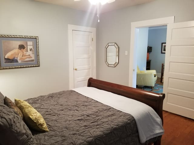 Front Bedroom with Tuft & Needle mattress/pillows with closet.