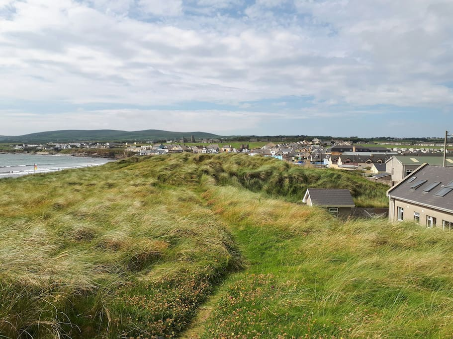 This is the rear of the property (on the right hand side of the photo), stones throw to the beach.