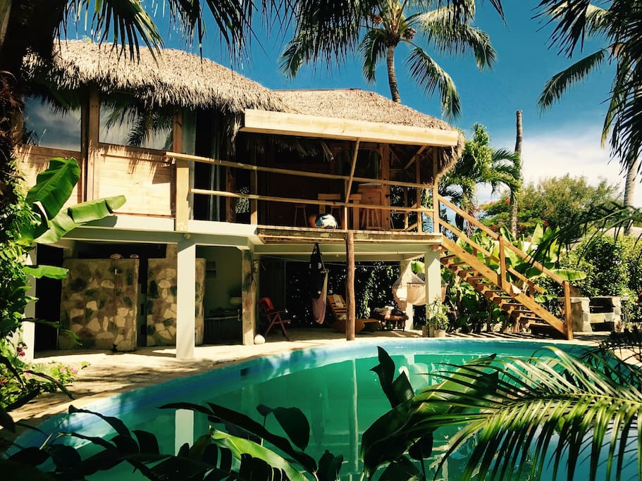The best of the 2 worlds- Tropical, natural guesthouse in the center of touristic Cabarete beach town! with us you can stay in Cabarete and Buen Hombre with the same reservation if you learn to kite with us!
