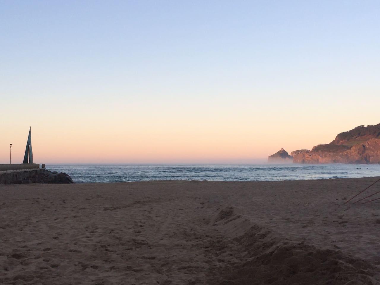 evening view from Bakio beach to San Juan de Gaztelugatxe