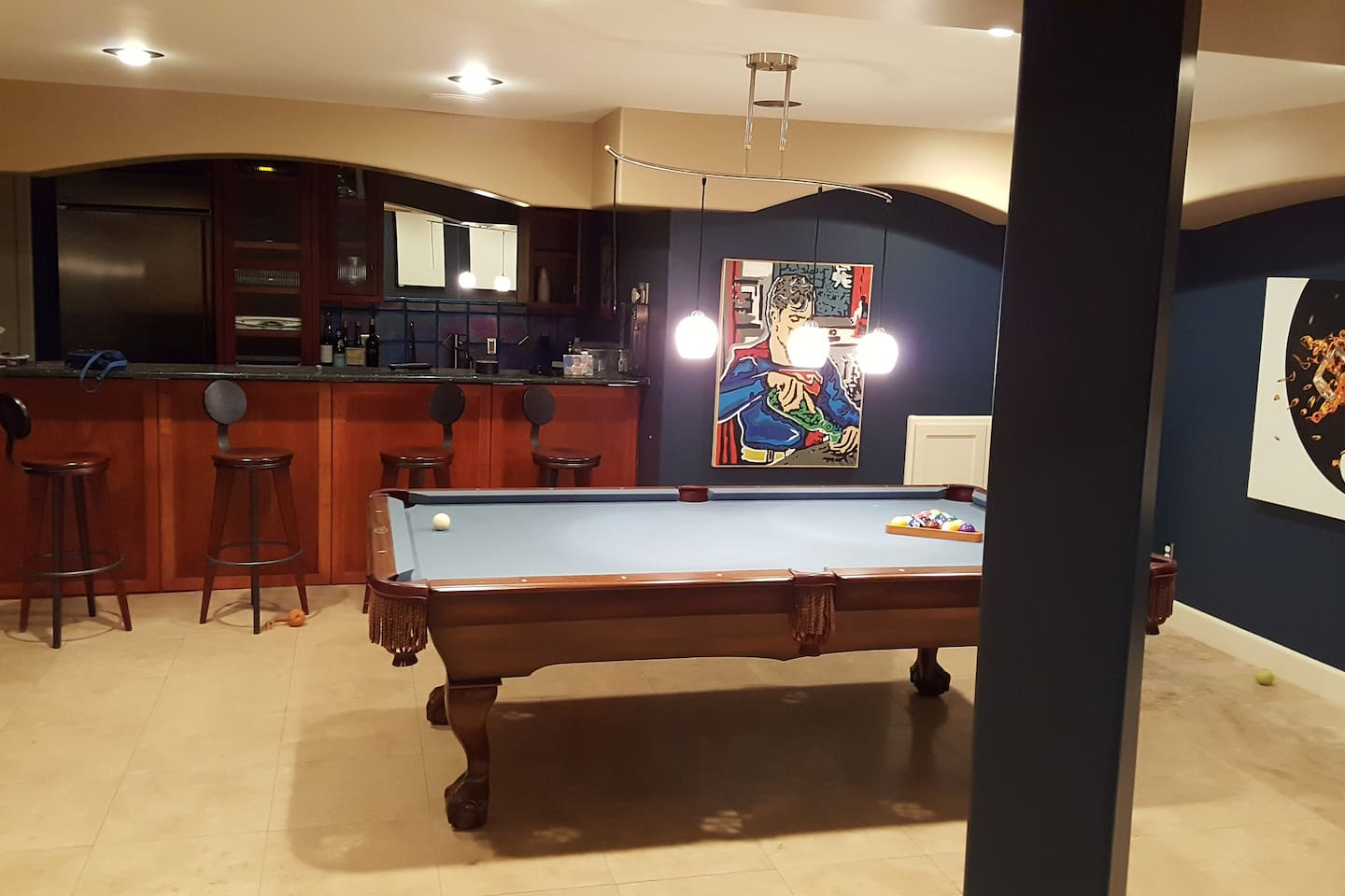 Downstairs rec room and bar