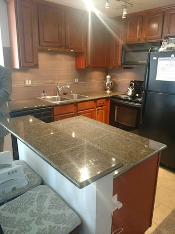 Full use of kitchen, microwave, oven, stove, plates, dishwasher