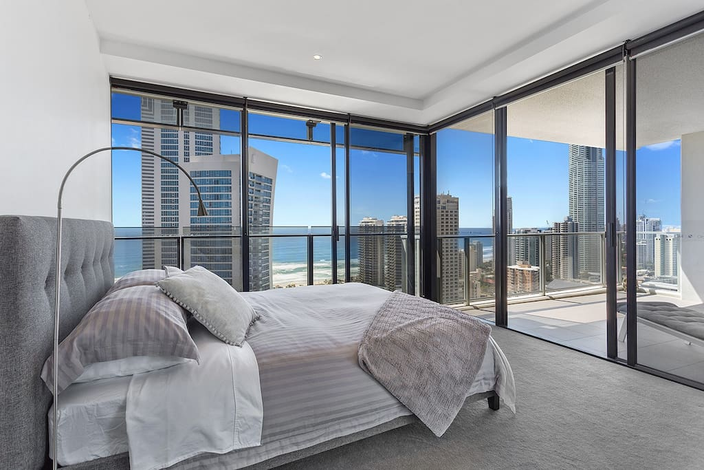 Your private room with the 180-degree view of the ocean and the skyline.