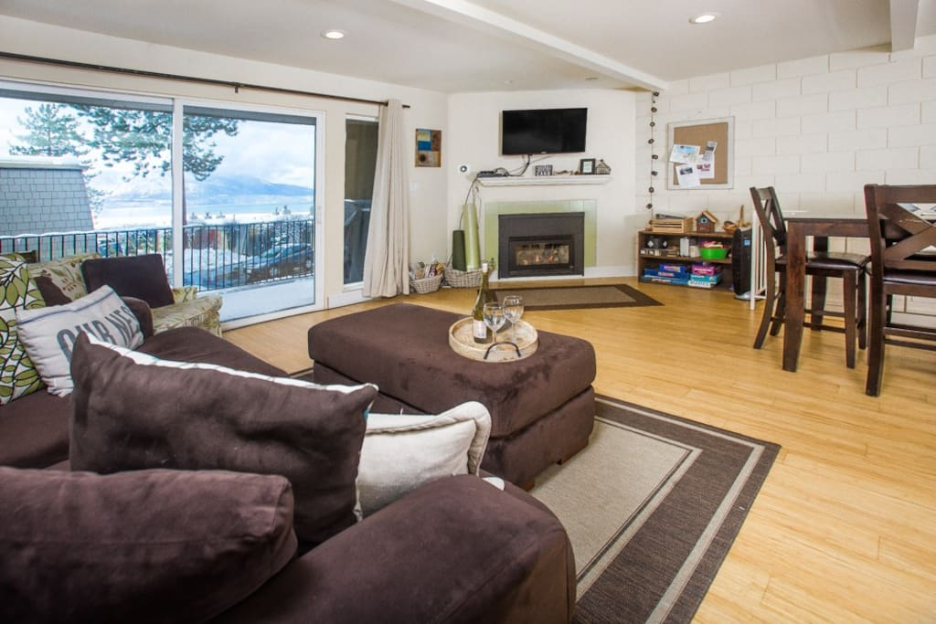 Living room with with cozy gas fireplace