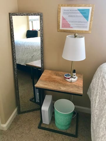 Full length mirror, personal fan and space heater, and USB port charger!