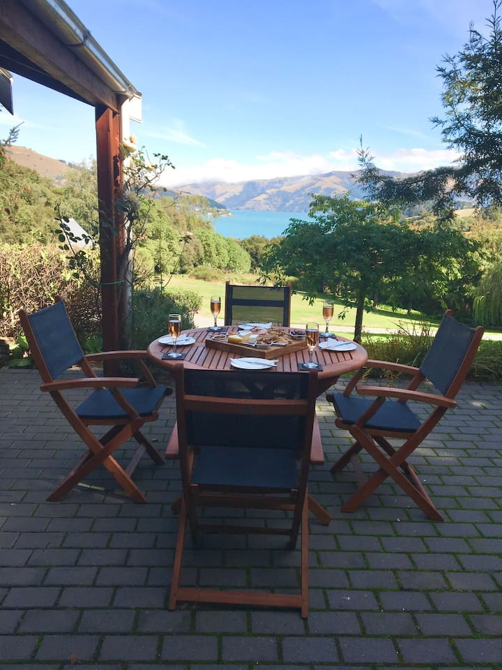Dine out and admire the beautiful views of Akaroa Harbour and listening to the sound of the bell birds singing