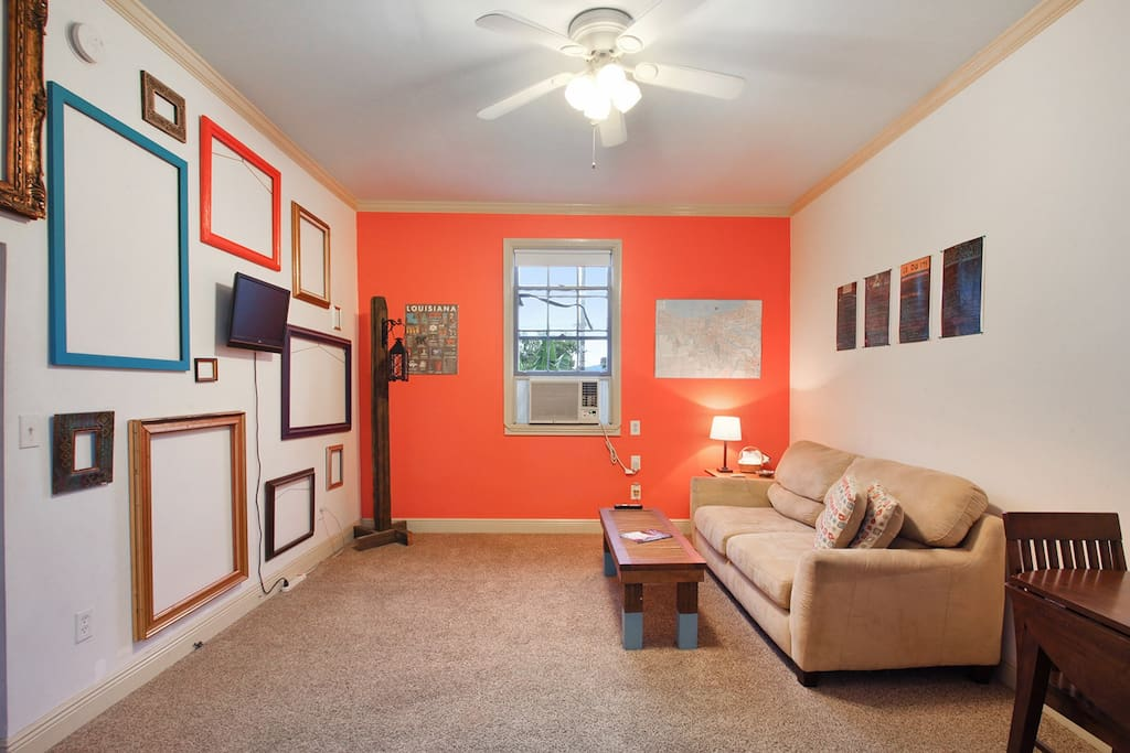 Living Room with sleeper sofa that sleeps two.