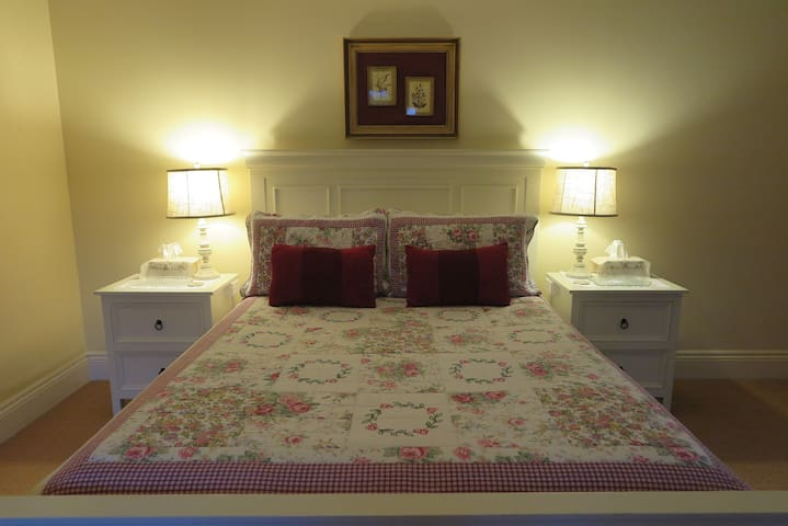 Comfortable, spacious  downstairs Queen Room