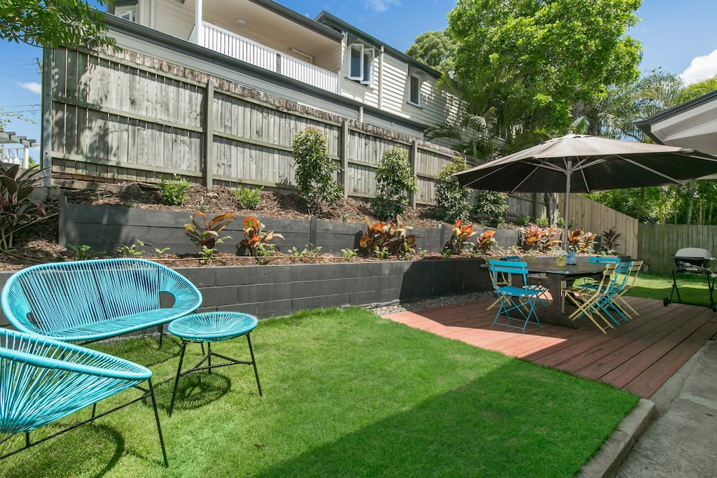 Outdoor private patio courtyard, fully fenced with Weber BBQ