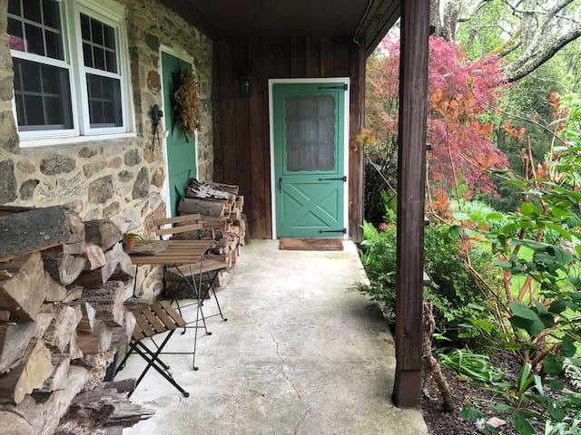 Guesthouse porch and front door