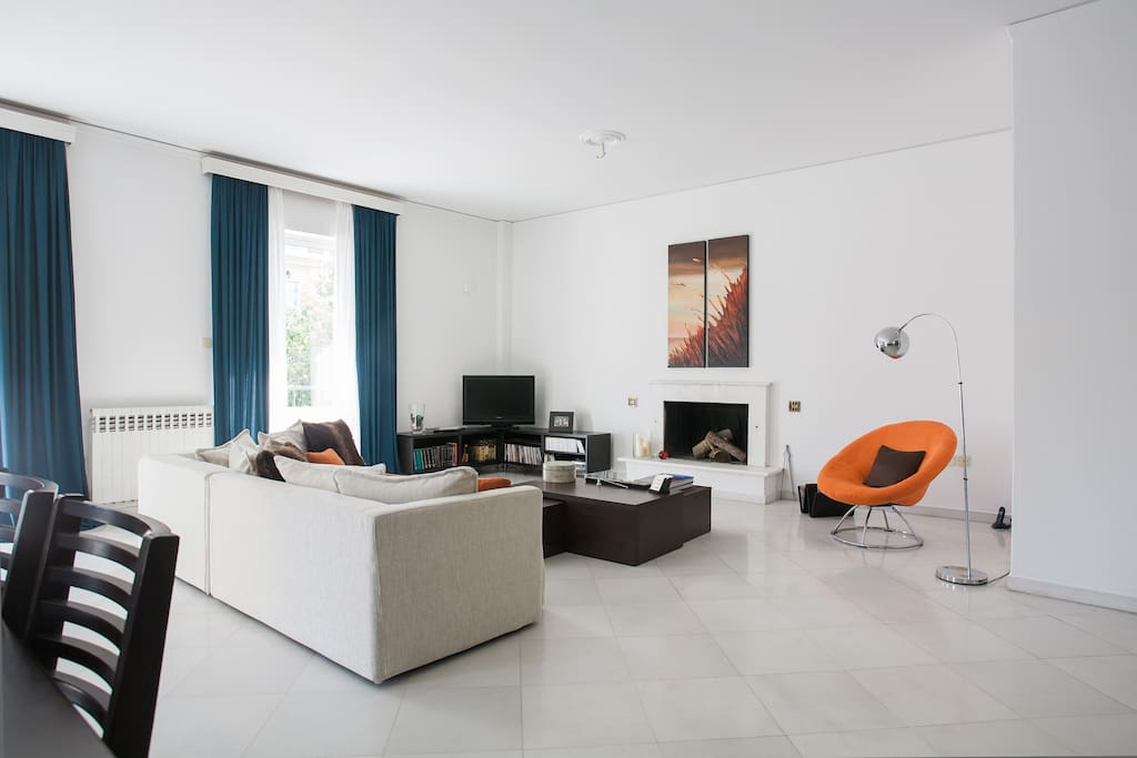 The huge shared living area is comfortable enough for everyone.